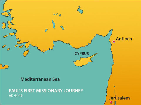 Antioch was north of Jerusalem in Syria. When news of Gentiles becoming Christians reached Jerusalem they sent Barnabas to find out what was going on. – Slide 2