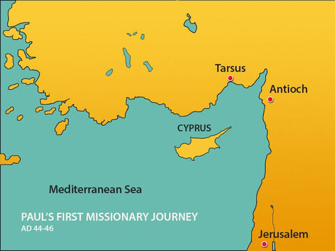 He travelled to Tarsus where Saul, called Paul in Greek, was now living. Paul had once persecuted Christians but was now a Christian himself. – Slide 5