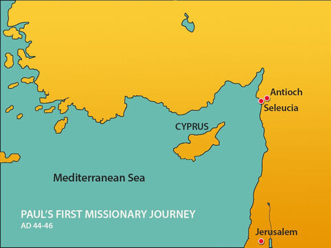 The men travelled east to the port of Seleucia. – Slide 10