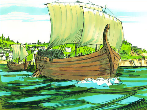 They boarded a ship sailing for Cyprus. It was the island on which Barnabas had owned land and some of the persecuted Christians had fled. – Slide 11