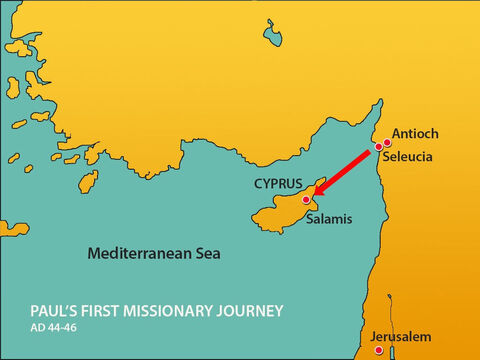 The missionaries landed at the port of Salamis on the west coast. – Slide 12