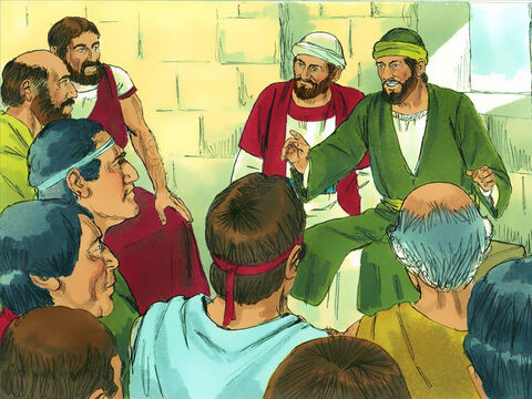 They began teaching in the synagogues, telling people about Jesus and encouraging the new Christians. – Slide 13