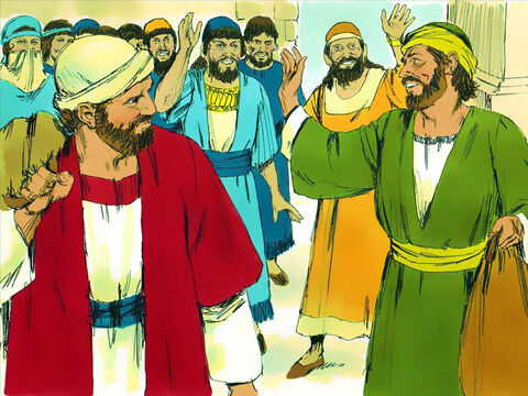 Paul and Barnabas travelled from place to place throughout the island teaching in the synagogues and encouraging Christians. – Slide 14