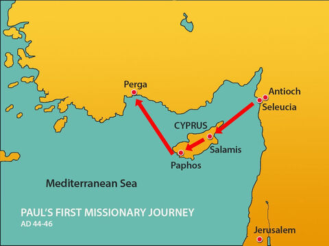At Paphos, Paul, Barnabas and Mark boarded a ship to Perga to continue their travels. – Slide 19