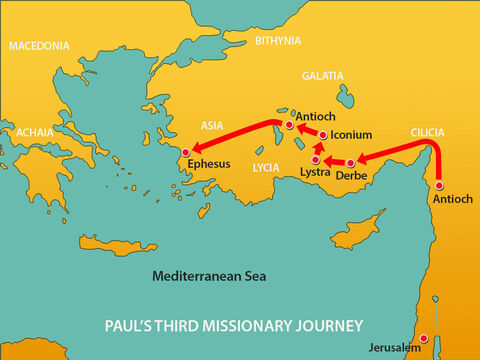 After his second missionary trip Paul spent time in Antioch before setting off inland through Galatia and Phrygia encouraging the Christians who met there. He then made his way to Ephesus, the fourth largest city in the Roman Empire, with a population of over 250,000. – Slide 1
