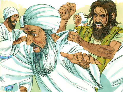 Then the man with the evil spirit leaped on them, overpowered them, and attacked them with such violence that they had to run from the house. – Slide 10