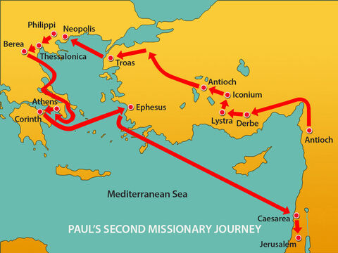 Meanwhile, Paul's ship had docked in Caesarea and he travelled to Jerusalem. – Slide 11