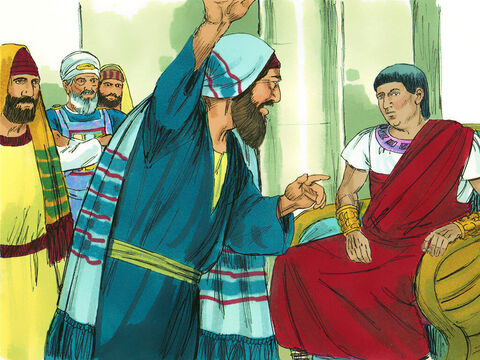 Five days after Paul was escorted to Caesarea, Ananias, the high priest, arrived with some of the Jewish elders and the lawyer Tertullus, to present their case. Tertullus presented the charges against Paul. He began by making flattering remarks about Governor Felix. – Slide 1