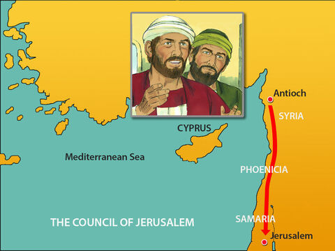 The church sent Paul and Barnabas to Jerusalem, accompanied by some local believers, to talk about this matter with to the apostles and elders in Jerusalem. On the way they stopped to tell Christians living in Phoenicia and Samaria that many Gentiles were now followers of Jesus. – Slide 3