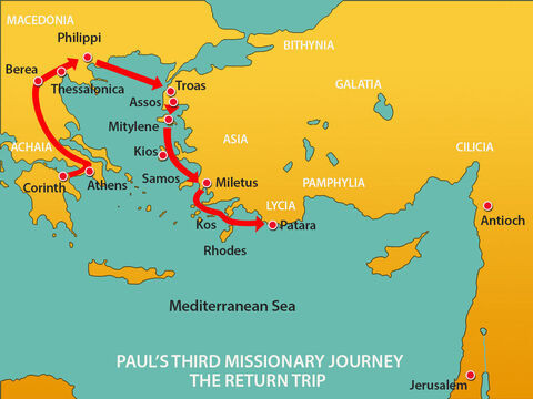 After saying farewell to the Ephesian elders, Paul sailed straight to the island of Kos. The next day they reached Rhodes and then went to Patara. – Slide 1