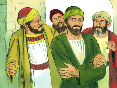 Paul and his companions went ashore, found the local believers,and stayed with them a week. These believers prophesied through the Holy Spirit that Paul should not go on to Jerusalem. – Slide 4