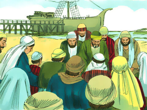 When they returned to the ship the entire congregation, including women and children, left the city and came to the shore with them. There they knelt, prayed, and said their farewells. – Slide 5