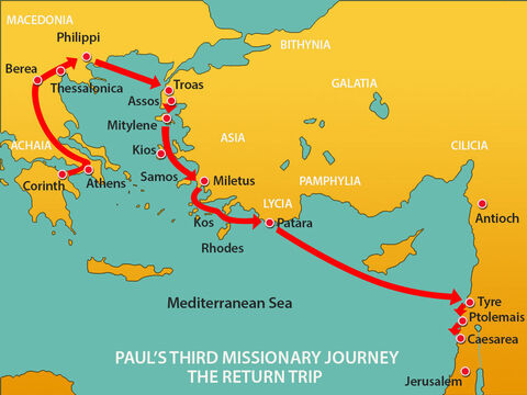 The next stop after leaving Tyre was Ptolemais, where they greeted the Christians there and stayed for one day before sailing on to Caesarea. – Slide 6