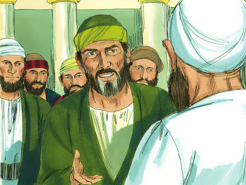 Paul agreed and the next day went to the Temple with the four men. He publicly announced the date when their vows would end and sacrifices would be offered for each of them. Paul showed his support for them by paying for them to have their heads ritually shaved. To find out what happened next download 'Paul faces a riot in Jerusalem' from Free Bible images. – Slide 16