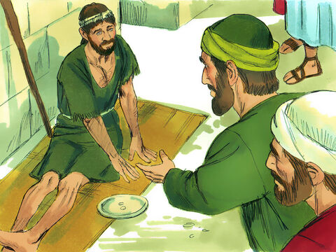 While in Lystra Paul and Barnabas saw a man who had been lame from birth. He had been sitting and listening as Paul preached. Paul looked at him and knew he had the faith to be healed. – Slide 2