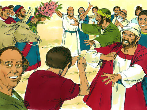 They decided that Barnabas was the Greek god Zeus and that Paul was Hermes. So the priest of the temple of Zeus, which was just outside the town, and the crowd brought bulls and wreaths of flowers to the town gates, and they prepared to offer sacrifices to the apostles. – Slide 4