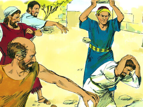 Just then, some of the Jews persecuting them arrived from Antioch and Iconium. They won over the crowd. They stoned Paul and dragged him out of town, thinking he was dead. – Slide 6