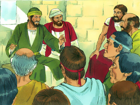 Paul and Barnabas preached the Good News in Derbe and many became Christians. – Slide 9