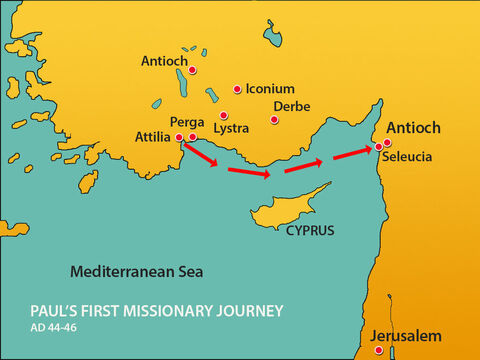 From here they made their way back to Antioch in Syria where their journey had begun. – Slide 12