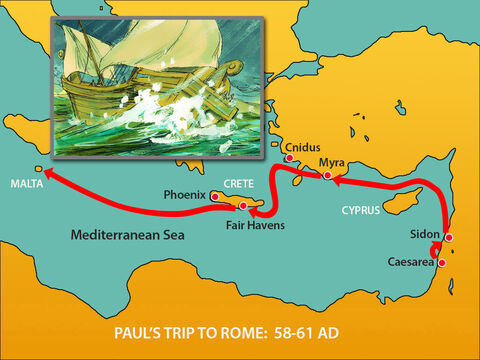 Once Paul and the 276 people who had been shipwrecked were safely onshore, they learned they were on the island of Malta. – Slide 1