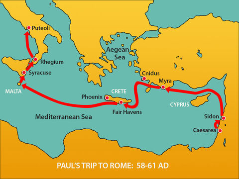 They stopped at Syracusefor three days then sailed across to Rhegium.A day later, a south wind began blowing so they sailed up the coast to Puteoli. – Slide 6