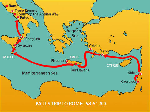 From there they made their way north to Rome. Christians in Rome had heard they were on the way and travelled to meet Paul at the Forumon the Appian Way. Others joined Paul at The Three Taverns. – Slide 8