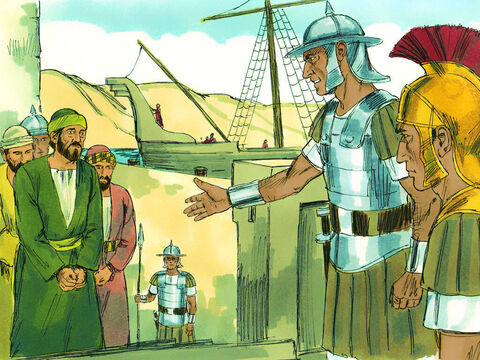 When the time came for Paul to face trial in Rome, he and several other prisoners were placed in the custody of a Roman officernamed Julius, a captain of the Imperial Regiment. – Slide 1