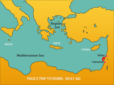 They set sail and the next day docked in Sidon. Julius kindly let Paul go ashore to visit friends who provided for his needs. – Slide 2