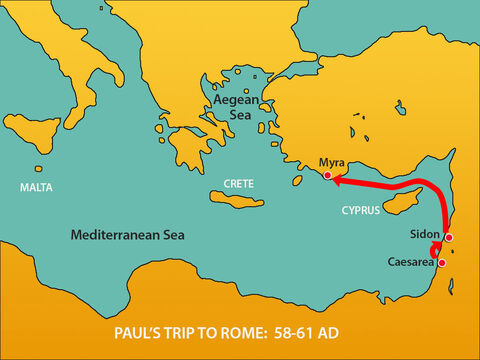 Putting out to sea again, they encountered strong headwinds that made it difficult to keep the ship on course. Passing by Cyprus they sailed along the coast of Cilicia and Pamphylia, landing at Myra. – Slide 3
