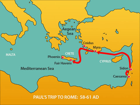 However, the wind was against them so they sailed south to Crete and finally arrived at Fair Havens. – Slide 6