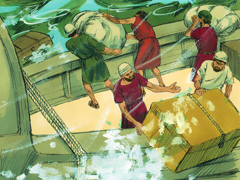 The next day, as gale-force winds continued to batter the ship, the crew began throwing the cargo overboard. – Slide 10