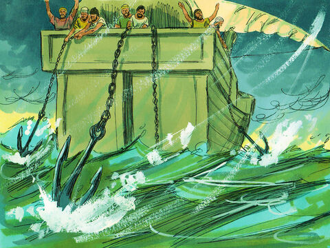 They were afraid they would be driven against the rocks along the shore, so they threw out four anchors from the back of the ship and prayed for daylight. – Slide 16