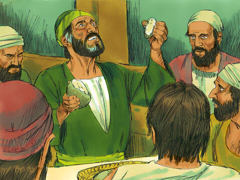 Then he took some bread, gave thanks to God, and broke off a piece and ate it. All 276 on board were encouraged and began to eat.The crew lightened the ship further by throwing the cargo of wheat overboard. – Slide 20