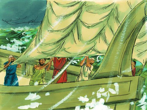 So they cut off the anchors and they lowered the rudders, raised the foresail, and headed toward shore. – Slide 23