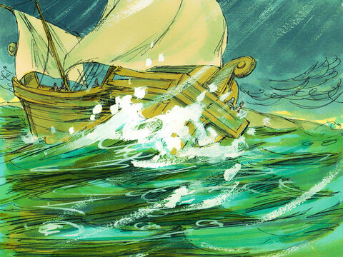 But they hit a shoal and ran the ship aground too soon. The bow of the ship stuck fast, while the stern was repeatedly smashed by the force of the waves and began to break apart. – Slide 24