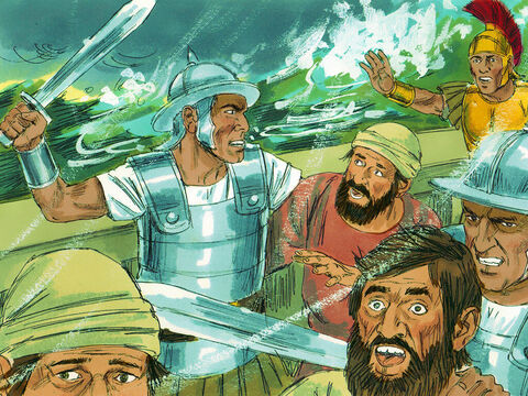 The soldiers wanted to kill the prisoners to make sure they didn't swim ashore and escape. However, the commanding officer wanted to spare Paul, and stopped them. – Slide 25