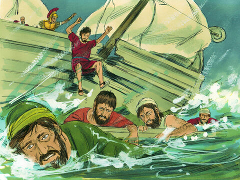 Then he ordered all who could swim to jump overboard first and make for land. The others held on to planks or debris from the broken ship. – Slide 26