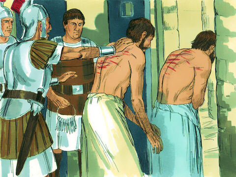 A mob quickly formed against Paul and Silas, and the city officials ordered them to be stripped and beaten with wooden rods. After a severe beating, Paul and Silas were thrown into prison.  – Slide 5