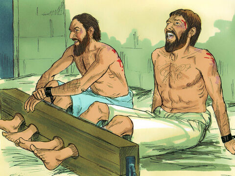 The jailer was ordered to make sure they didn't escape. So, he put them into the inner dungeon and clamped their feet in the stocks. Around midnight Paul and Silas were praying and singing hymns to God, and the other prisoners were listening. – Slide 6