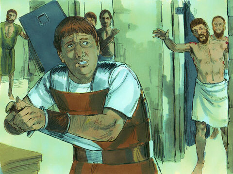 The jailer woke up to see the prison doors wide open. He assumed the prisoners had escaped, so he drew his sword to kill himself. But Paul shouted to him, 'Stop! Don't kill yourself! We are all here!' The jailer called for lights and ran to the dungeon and fell down trembling before Paul and Silas. Then he brought them out and asked, 'Sirs, what must I do to be saved?' – Slide 8