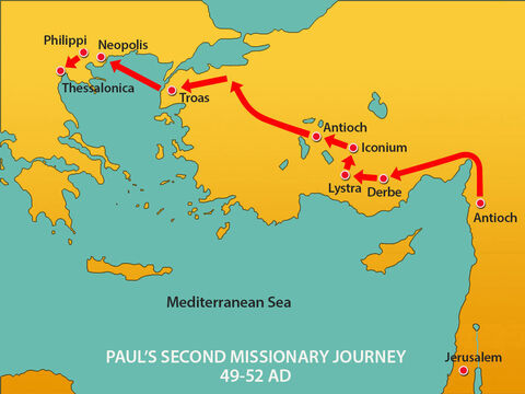 After leaving Philippi, Paul and Silas travelled through the towns of Amphipolis and Apollonia to Thessalonica. They stayed as guests in the house of a man called Jason. – Slide 1