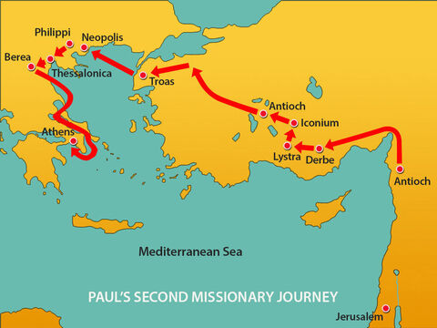 The believers acted immediately sending Paul on to the coast, while Silas and Timothy remained behind. Those escorting Paul went with him to Athens. Then they returned to Berea with instructions for Silas and Timothy to hurry and join him. – Slide 11