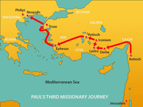 After the riot in Ephesus Paul made his way to Troas and then sailed to Macedonia. – Slide 1