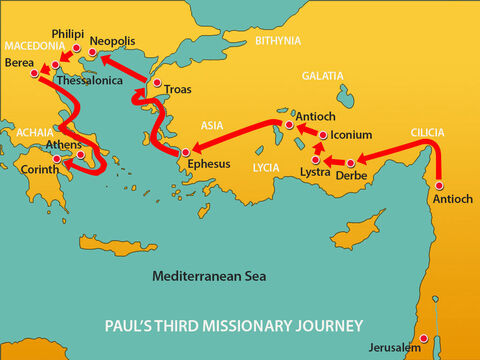He then moved south into Greece and the region of Achaia. He was there for three months. – Slide 3