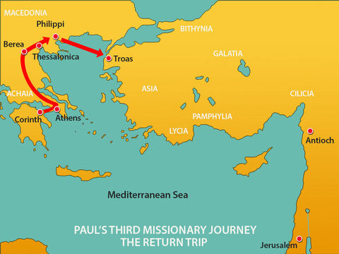 After a five day trip Paul joined the other men in Troas where they stayed for a week. – Slide 9