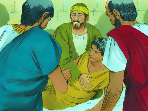 Paul went down, bent over him, and took him into his arms. 'Don't worry,' he said, 'he's alive!' – Slide 12