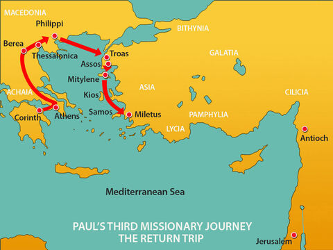 Paul and his companions went overland to Assos, where they boarded a ship for Mitylene. The next day they sailed past the island of Kios. The following day they crossed to the island of Samos, and a day later they arrived at Miletus. – Slide 14