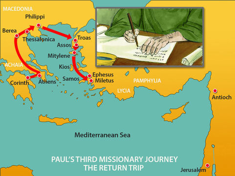 Paul had not stopped at Ephesus, as he was hurrying to get to Jerusalem in time for the Festival of Pentecost.But when he landed at Miletus, he sent a message to the elders of the church at Ephesus, asking them to come and meet him. – Slide 15