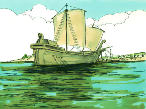 Then they escorted him down to the ship and waved him goodbye as he set off. – Slide 22