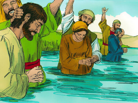 Those who accepted this message were baptised – about three thousand people. – Slide 11